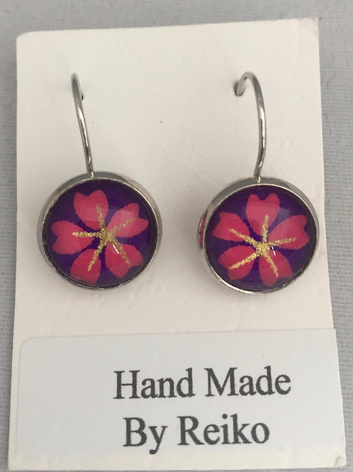 Earrings purple and pink Cherry Blossom