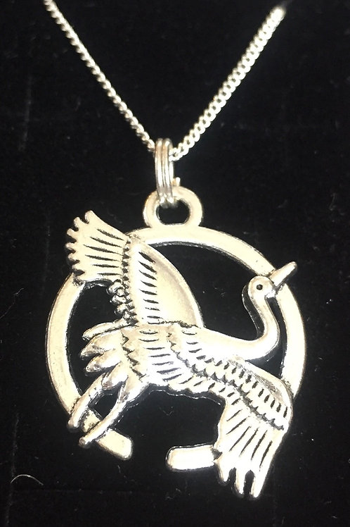 Necklace japanese crane good luck charm