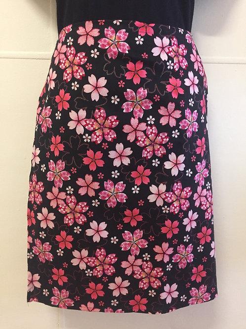 Wrap around skirt medium length black and pink