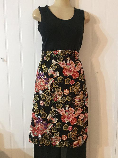 Wrap around skirt  medium length black with dancers