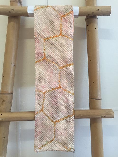Shibori tie dye silk scarf yellow