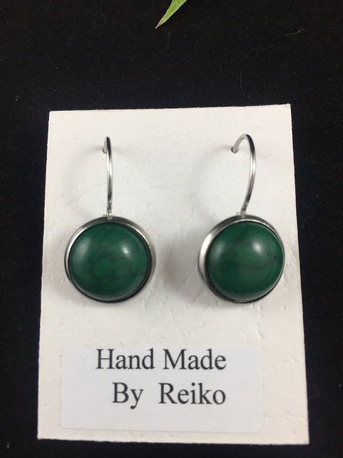 Earrings Resin Green