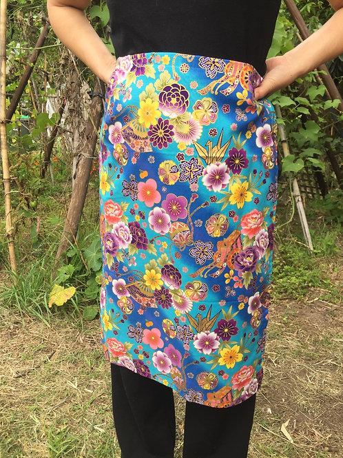 Wrap around skirt  medium length Aqua blue