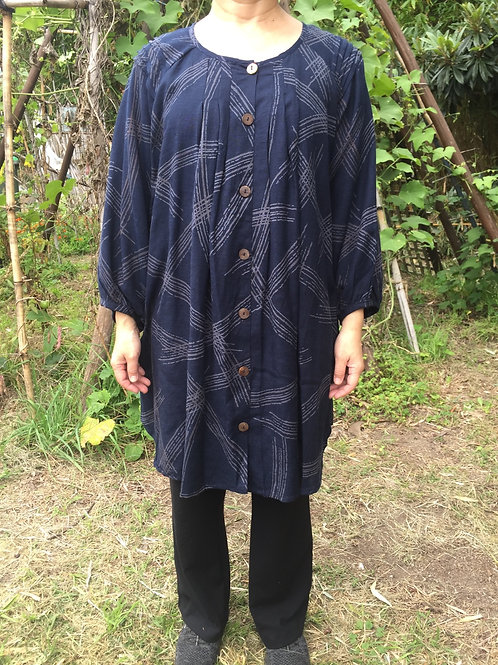 Medium tunic jacket style indigo rectangle