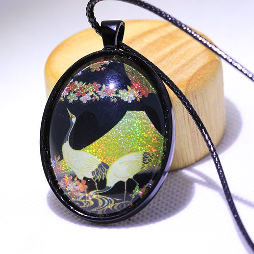 Glass Pendant - Japanese Crane