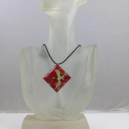 Brooch or Pendant Japanese Crane Red