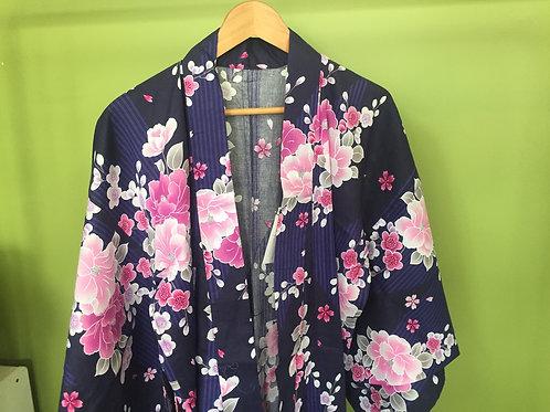 Cotton Kimono Yukata  - Indigo and pink