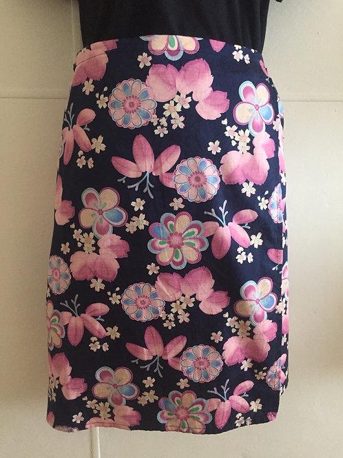Wrap Around Skirt indigo and pink