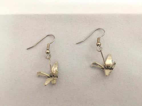 Japanese crane earring Pewter
