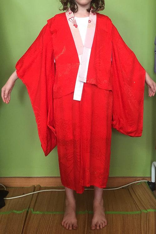 Girl's Kimono red jyuban