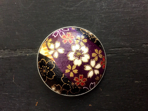 Brooch/Pendant Cherry bloossom purple silver backing