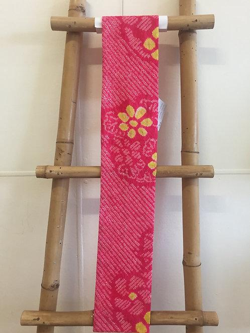 Shibori tie dye silk scarf pink