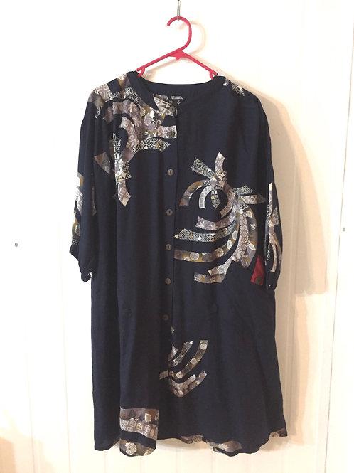 oLong Tunic Jacket style indigo  r