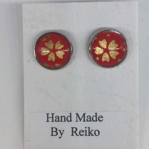 Stud Earrings red Cherry Blossom Round Small