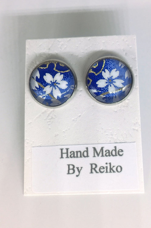 Stud Earrings Blue Cherry Blossom Round Medium