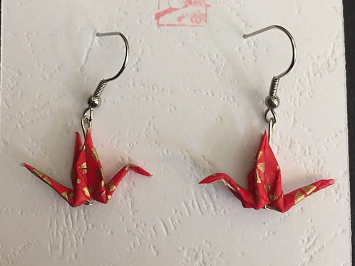 Japanese crane earrings red