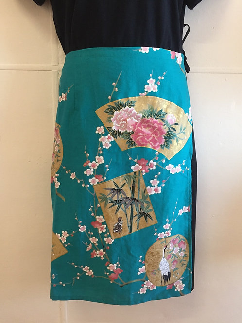 Wrap around skirt medium length Aquq blue
