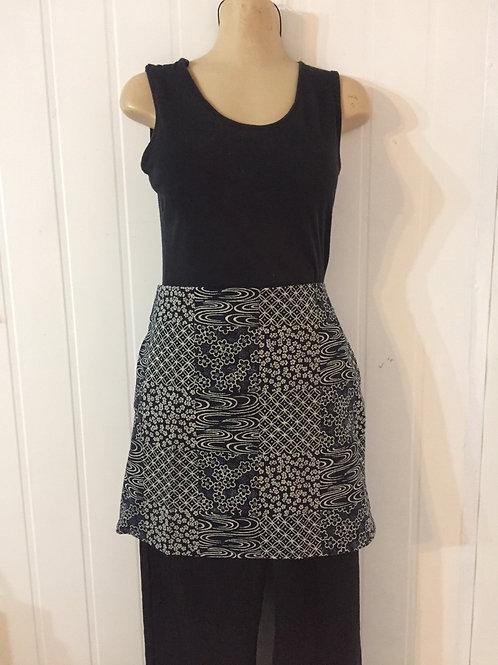 Wrap around skirt indigo short