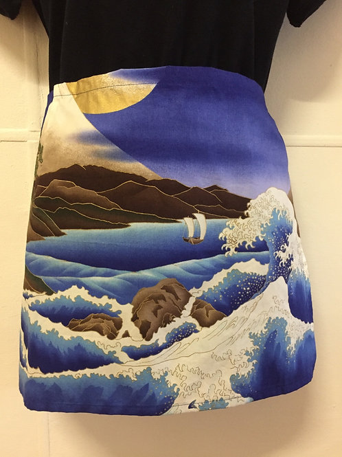 Wrap around skirt short Great wave and Mt Fuji
