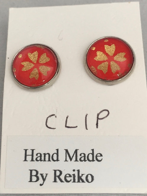 Clip on earrings red cherry bloossom small