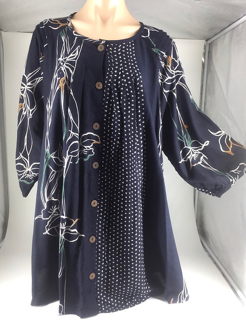 Medium Tunic Jacket style indigo with iris