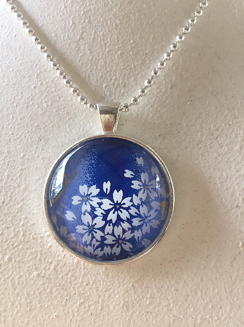 Glass Pendant ( Blue cherry blossom 30mm) Silver color