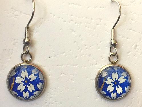 japanese cherry bloossom Earrings Blue