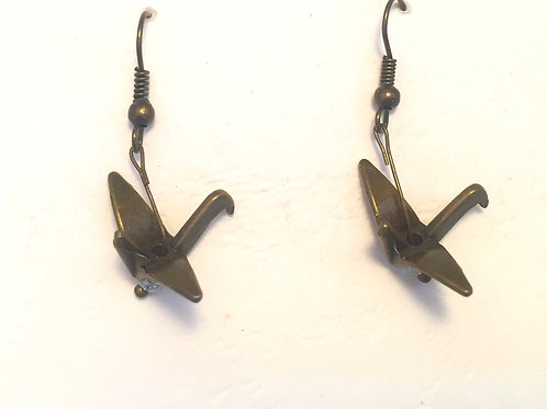 Japanese crane earring Pewter Antique blonze colour