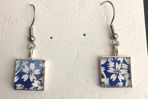 Japanese cherry bloossom earring blue