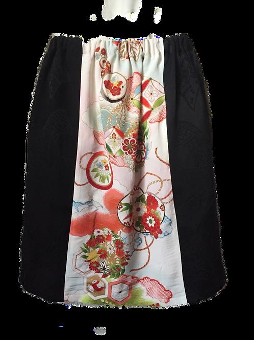 Skirt - vintage kimono silk fabric - Long