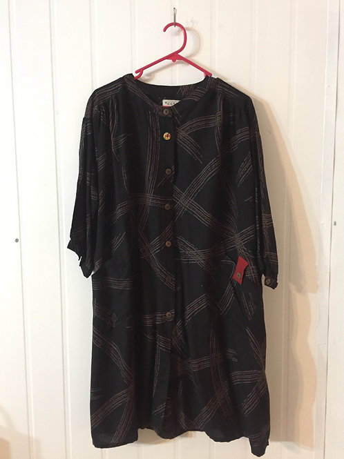 Long Tunic Jacket style black with Lines