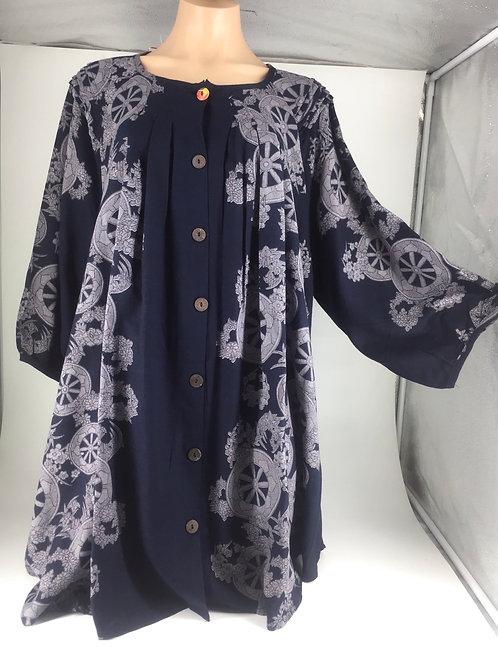 Medium Length Tunic Jacket style indigo with wheels