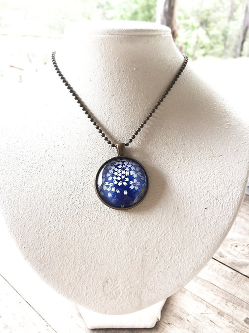 Glass Pendant ( Blue cherry blossom 25mm) Antique bronze