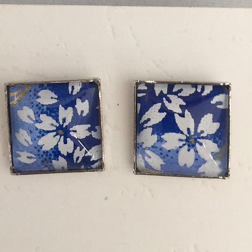 Earrings Stud blue cherry bloossom small
