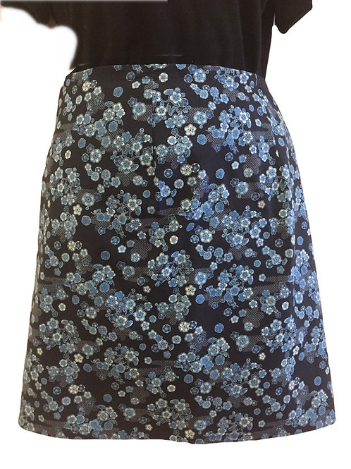 Wrap around skirt  medium length indigo