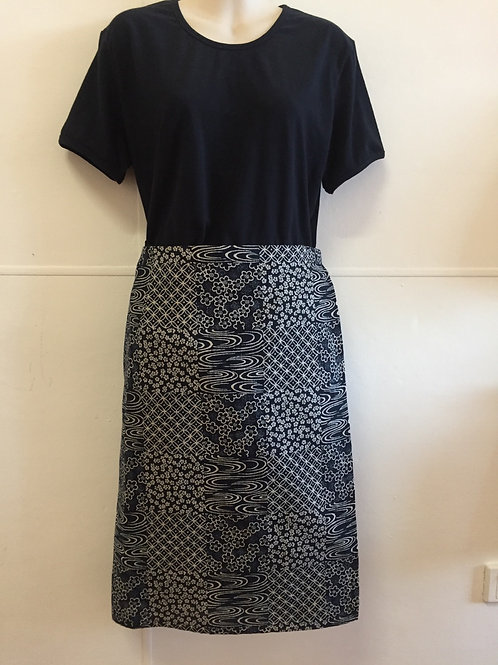 Wrap around skirt indigo medium length 51cm