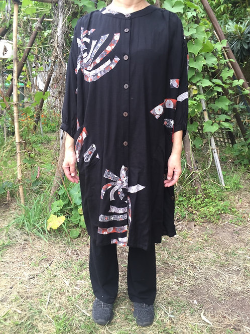 Long Tunic Jacket style black ribbon