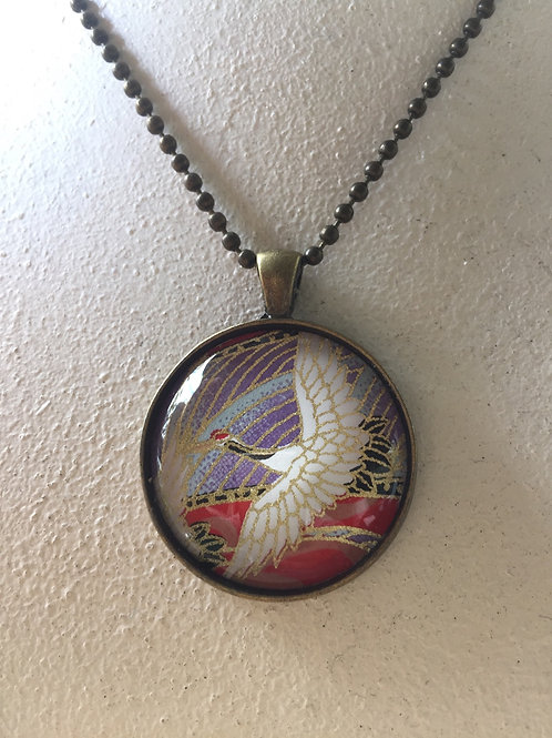 copy of Glass Pendant ( Blue cherry blossom 25mm) Antique bronze color 30mm