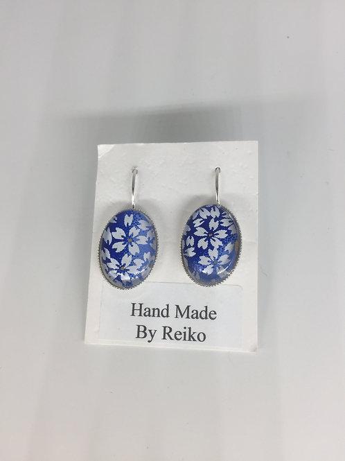Earrings Blue Cherry Blossom Oval shape