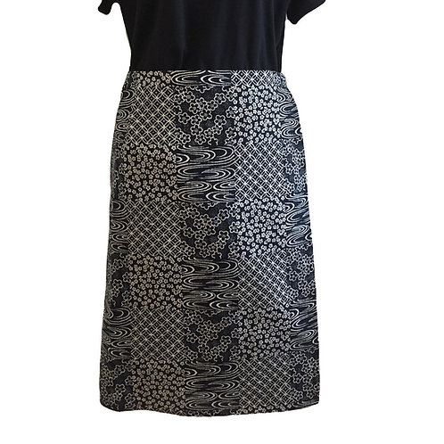 Wrap around skirt indigo medium length 63cm