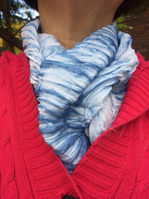 Shibori tie dye silk scarf