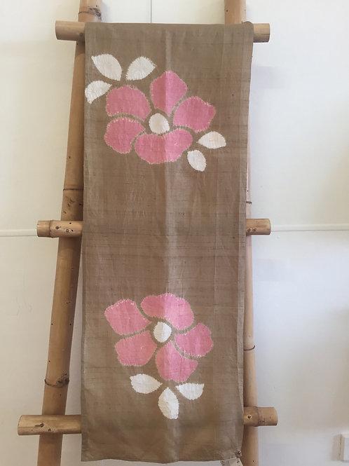 Shibori tie dye silk scarf brown