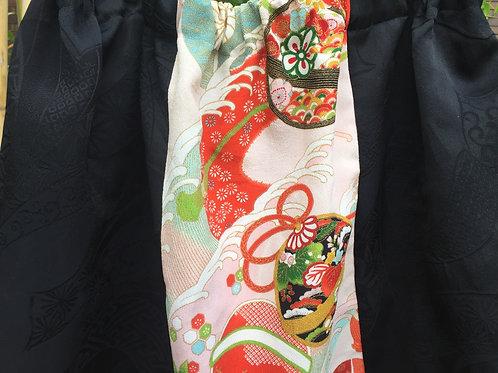 Skirt - vintage kimono silk fabric - short