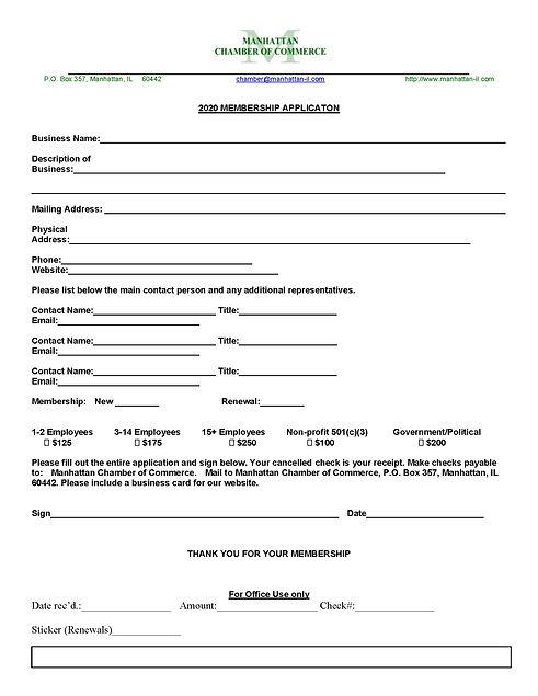 2020 Chamber of Commerce Membership Appl