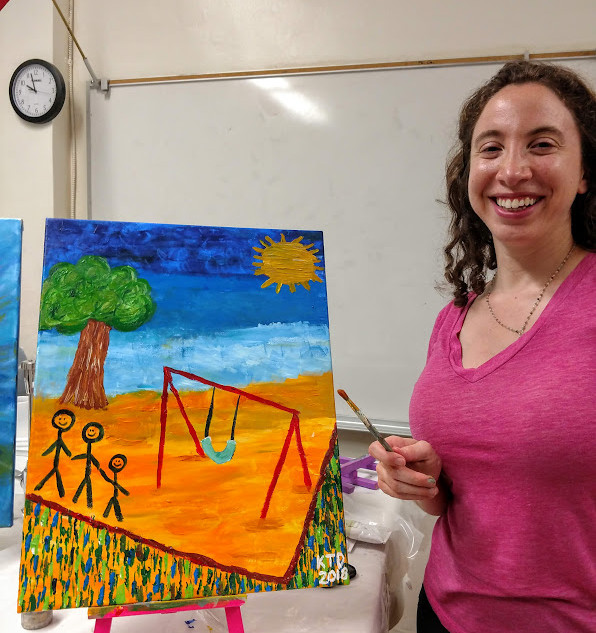 Karen and her finished painting.jpg