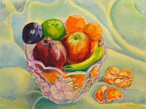 Fruits in the Glass Bowl, print