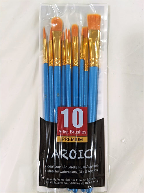 Acrylic & Watercolor Brushes, set of 10