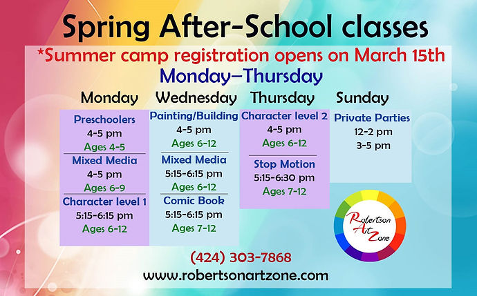 SpringAfterSchool_classes_calander_with