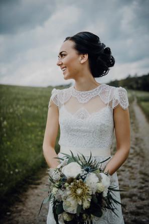 real bride wearing vintage inspired bohe