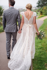Jess wearing French Lace Wedding Gown.jp